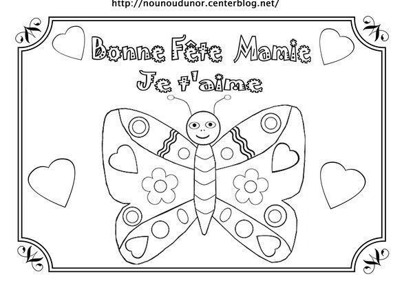 Papillon bonne f te mamie coloriage gommettes en couleur - Coloriage bonne fete mamie ...