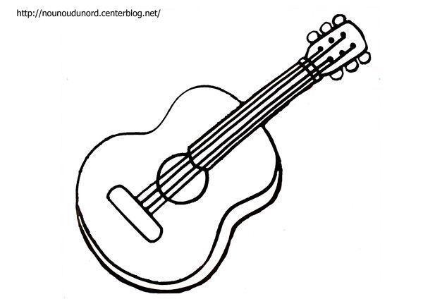 Coloriage Guitare Et à Gommettes