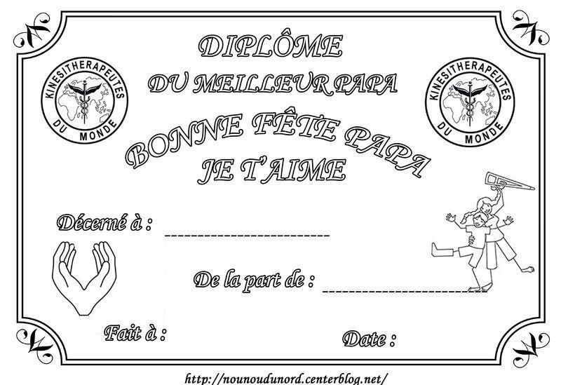 Dipl me imprimer pour la f te des p res - Diplome du super papa a imprimer gratuit ...