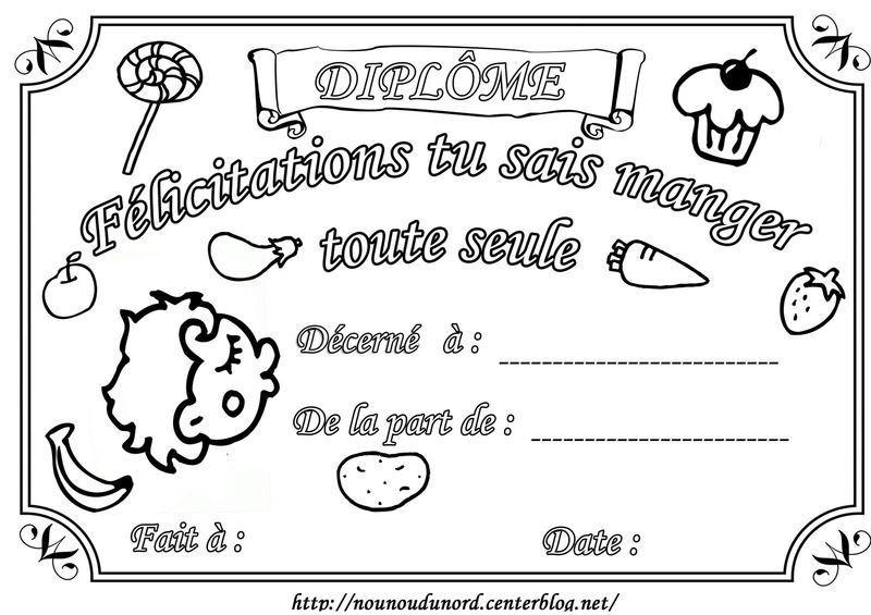 Diplome felicitations manger seule - Diplome de cuisine a imprimer ...