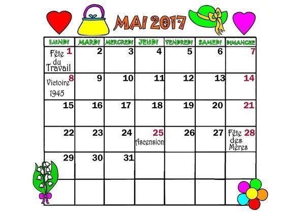 CALENDRIER 2017 mois de MAI, JUIN, JUILLET, AOÛT
