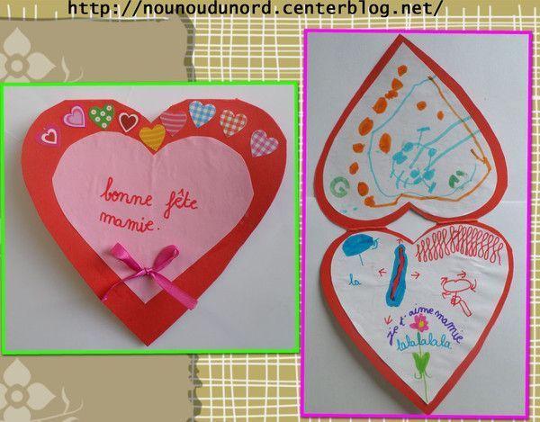 Carte en forme de coeur pour la fête des mamies