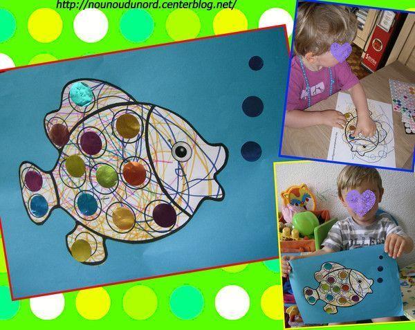 Coloriage pour gommettes le poisson réalisé par Gaspard