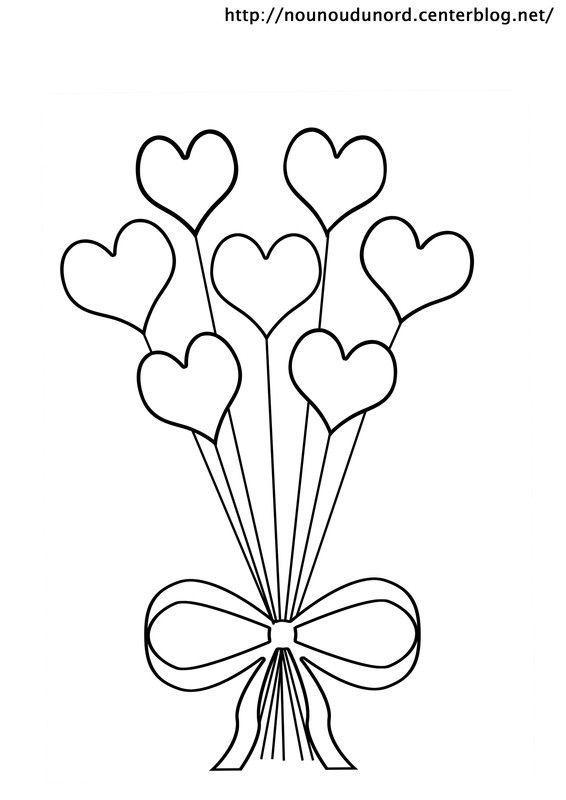 Coloriage bouquet de coeur dessin par nounoudunord - Dessin de bisous ...