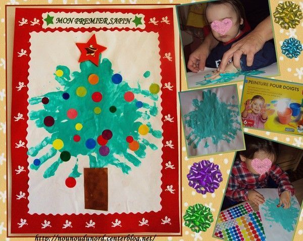 Premier sapin de Noël avec les empreintes de mains