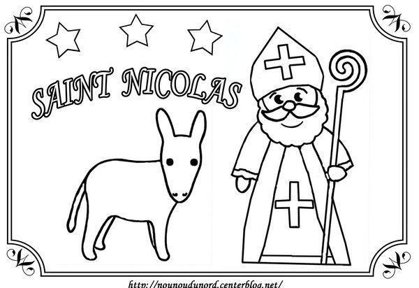 Coloriage saint nicolas et son ne dessin par nounoudunord - Image de saint nicolas a imprimer ...