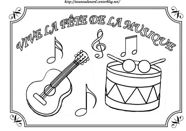 Coloriage f te de la musique - Image instrument de musique a colorier ...