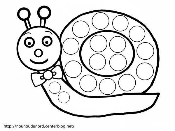 Coloriage Escargot A Gommettes Dessine Par Nounoudunord