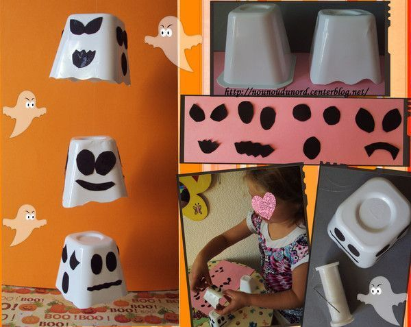 Mobile fantôme réalisé avec des pots de yaourts.
