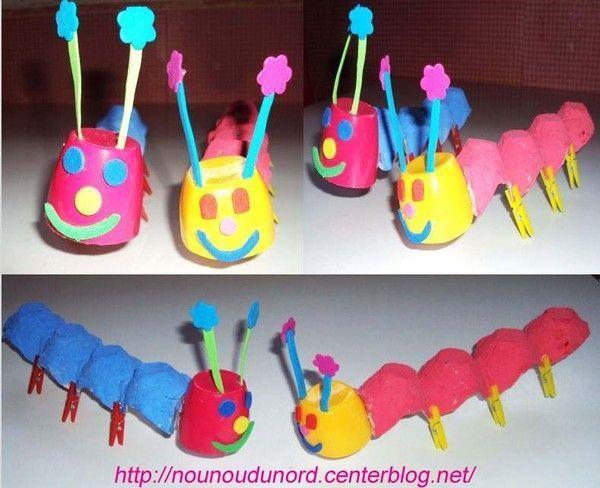 Activite avec boite a oeufs - Bricolage a faire avec des petit ...
