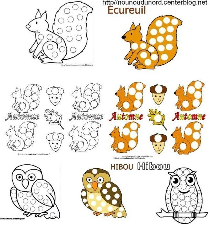 Coloriages automne pour gommettes - Coloriage d ecureuil ...