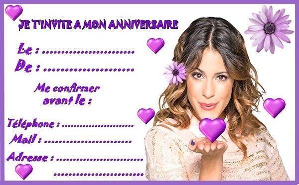 Célèbre invitations Violetta pour anniversaire ZC38
