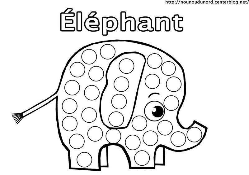 Elephant En Coloriage A Gommette En Couleur