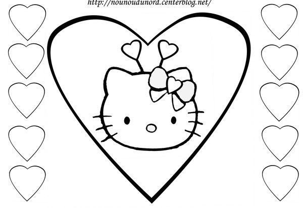 Coloriage coeurs st valentin - Hello kitty jeux coloriage ...