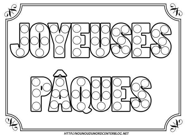Coloriage De Paques Avec Prenom.Ecriture Joyeuses Paques Coloriage Gommettes Couleur