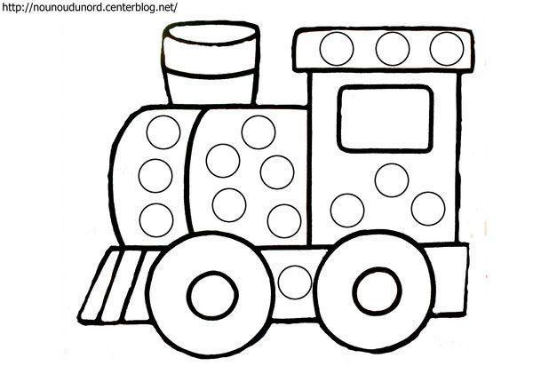Coloriage à gommettes le train dessiné par nounoudunord.