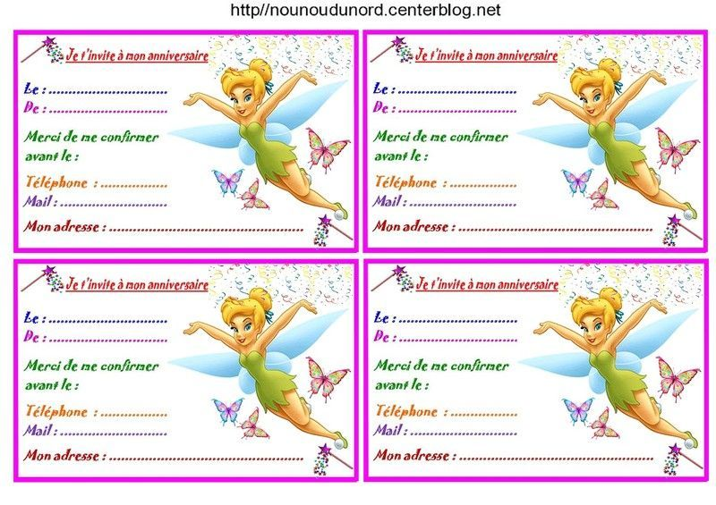 Favori Fée clochette Etiquettes, invitations pour anniversaire BY75