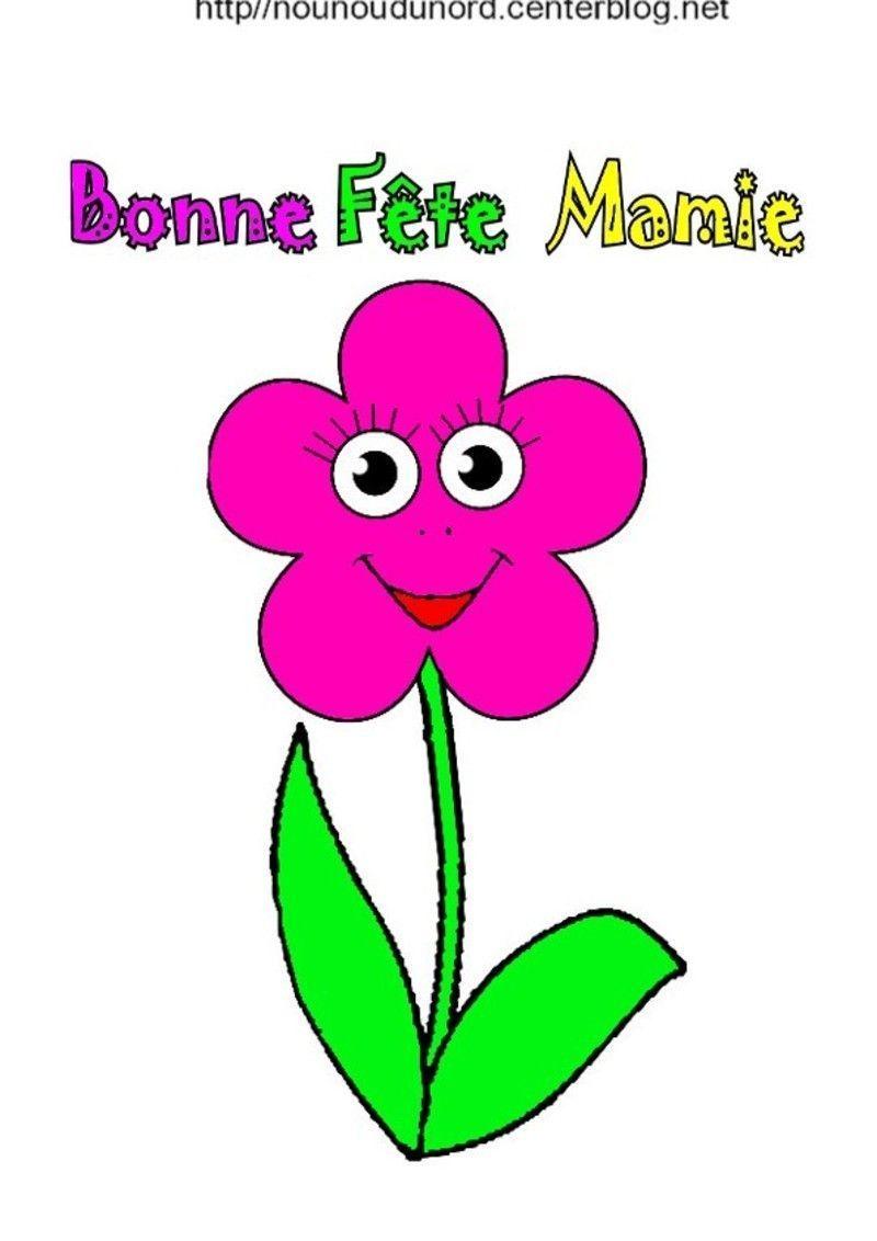 Fleur bonne f te mamie coloriage gommettes et en couleur - Dessin de mamie ...