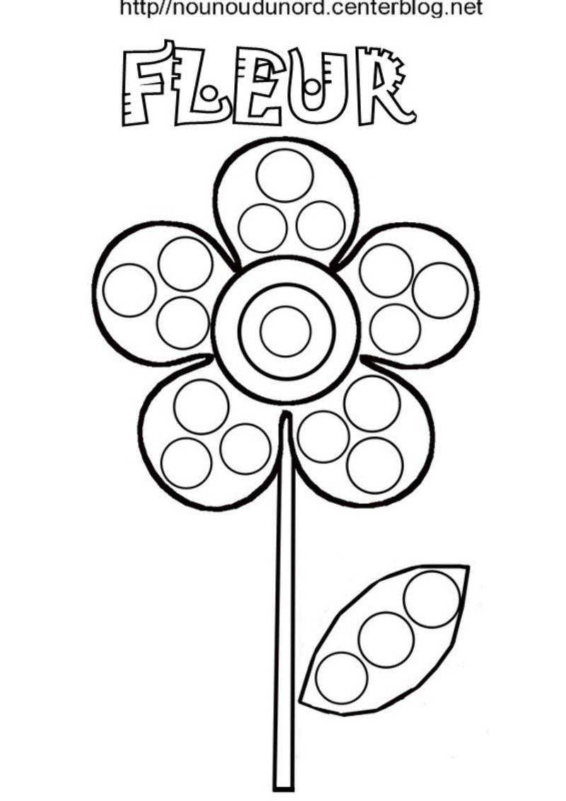 Fleur coloriage pour gommettes en couleur - Coloriage de fleur ...