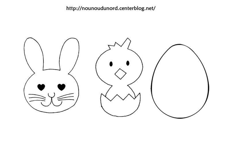 Super gabarit ou coloriage lapin, poussin, oeufs de Pâques OV17