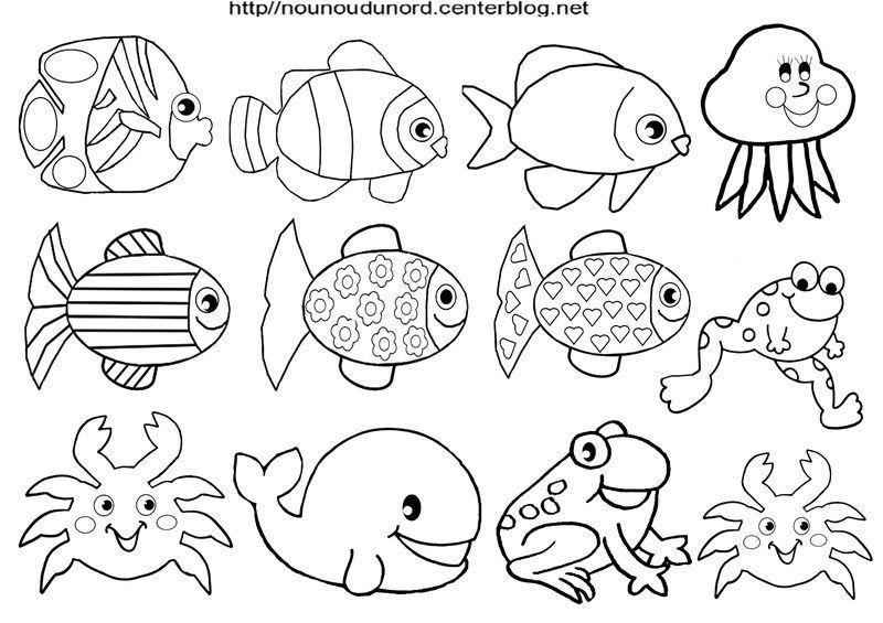 Gommettes poissons en coloriage et en couleur - Image de poisson a imprimer ...