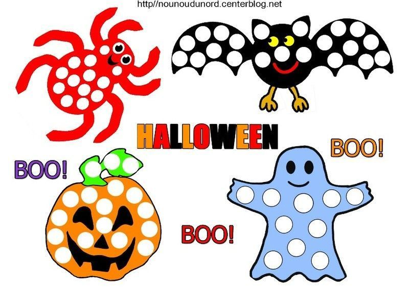 Coloriage Halloween A Gommettes
