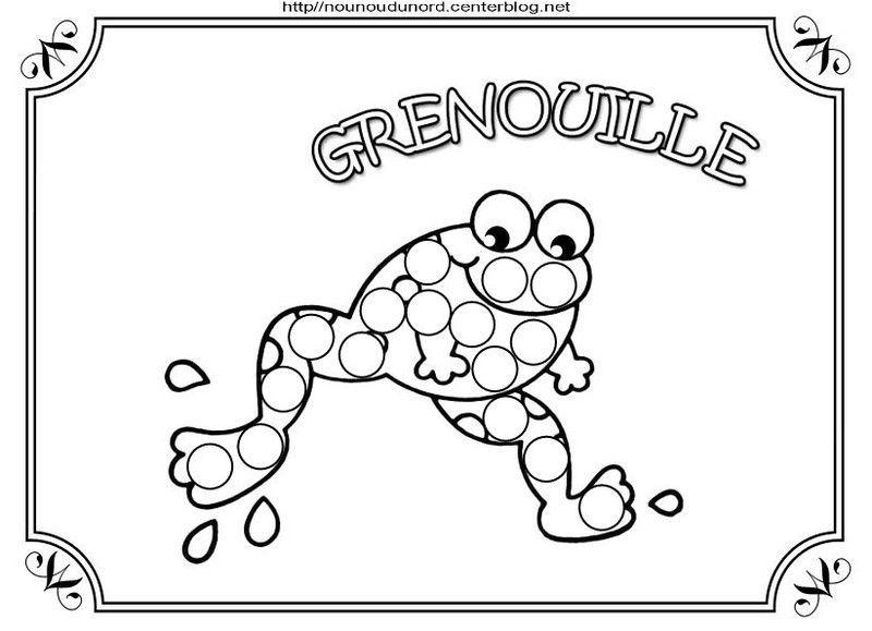 Coloriage grenouille et a gommettes - Coloriage bricolage ...