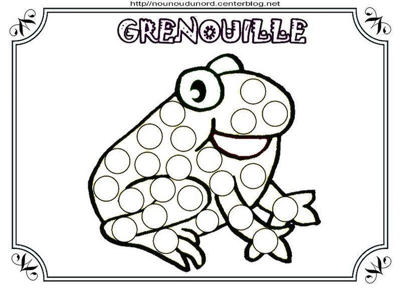 Coloriage grenouille et a gommettes - Coloriage de grenouille ...