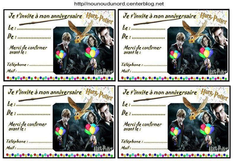 Harry potter invitations par 4 - Invitation anniversaire theme harry potter ...