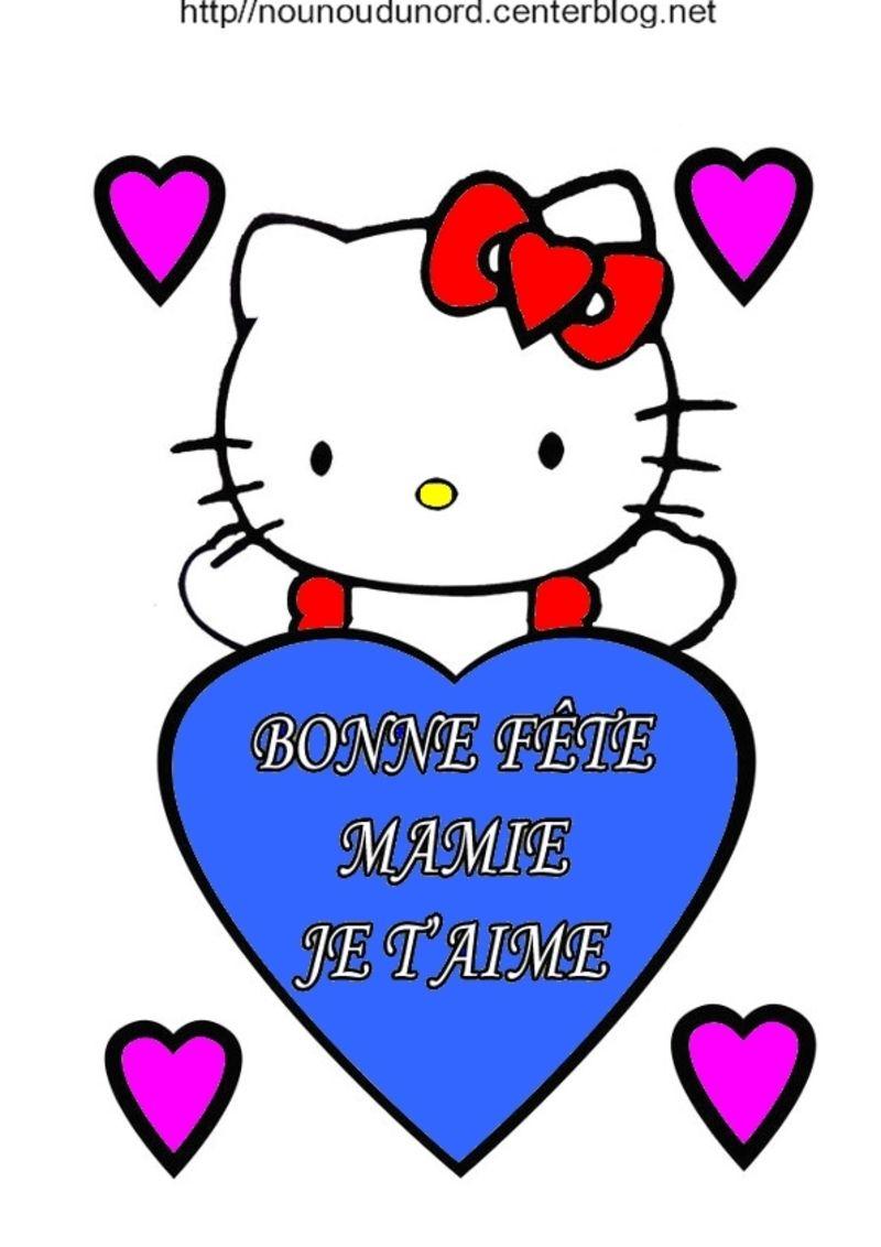 Hello Kitty Bonne Fete Mamie En Coloriage Et En Couleur