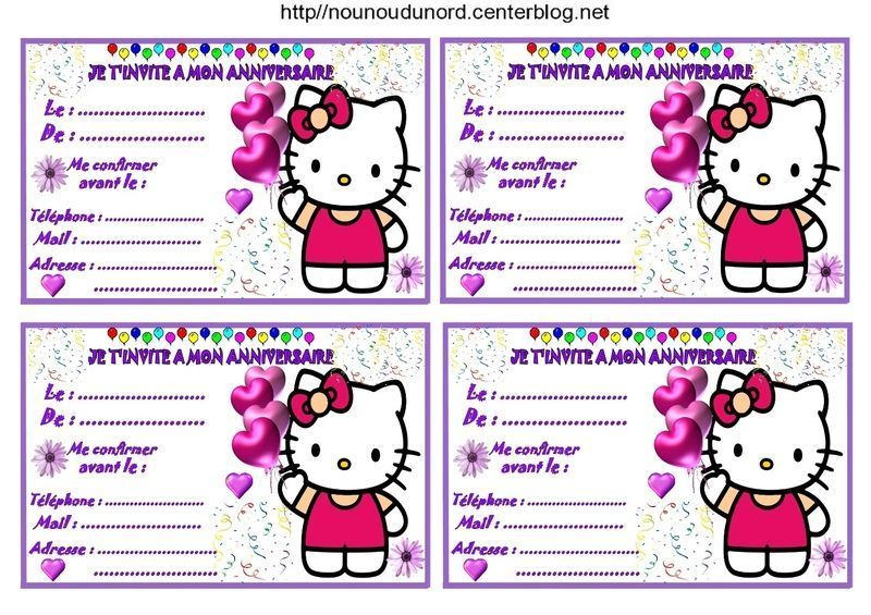Etiquettes invitations hello kitty pour anniversaire - Hello kitty imprimer ...