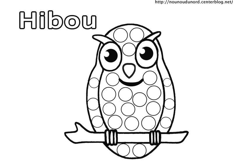 hibou chouette coloriage et gommettes. Black Bedroom Furniture Sets. Home Design Ideas