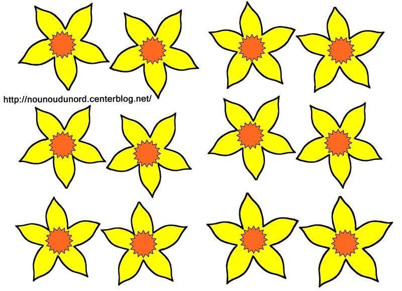 Gabarit jonquilles colorier et en couleur - Dessin de fleur en couleur ...
