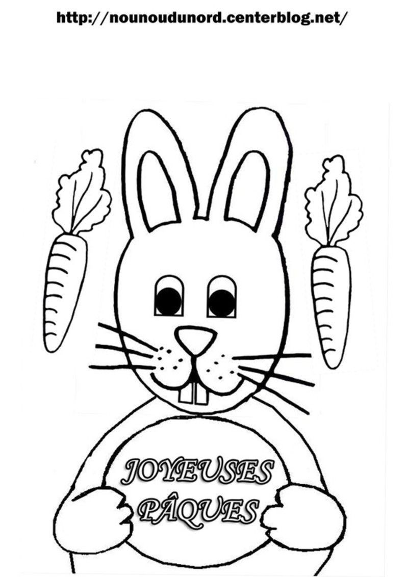 Coloriage paques lapin - Coloriages lapins ...