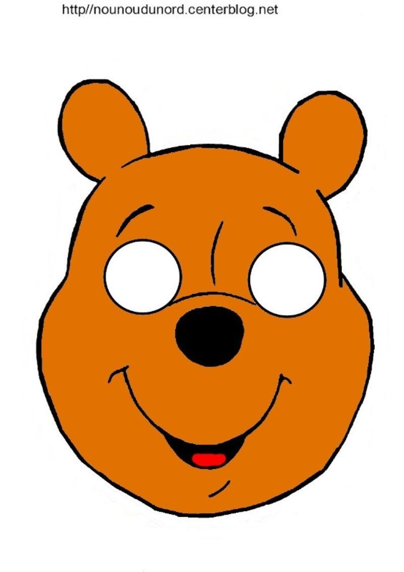 Masques ours petit ours brun et winnie l 39 ourson - Tete winnie l ourson ...