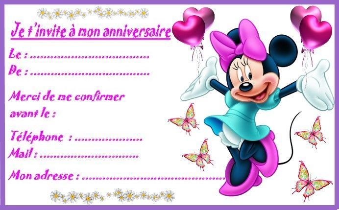 etiquettes invitations mickey et minnie pour anniversaire. Black Bedroom Furniture Sets. Home Design Ideas