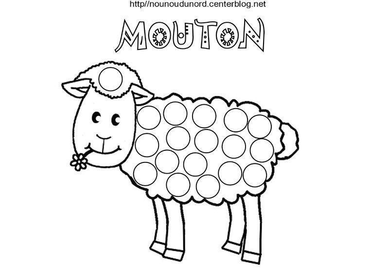 Mouton coloriage et gommettes en couleur - Image mouton dessin ...
