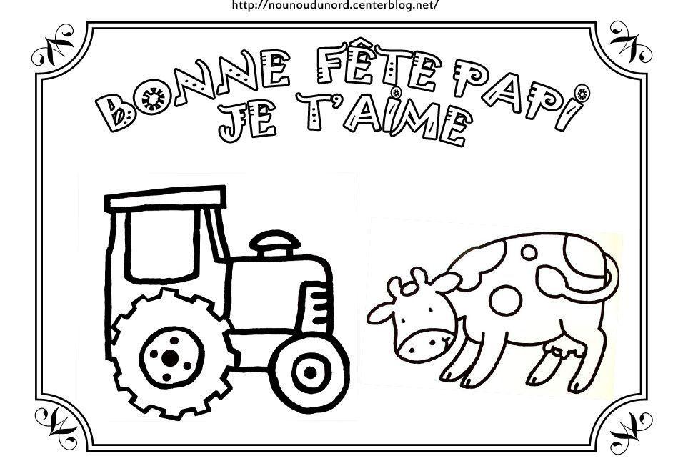 Coloriage De Ferme Avec Tracteur Et Animaux.Coloriage Bonne Fete Papi A La Ferme