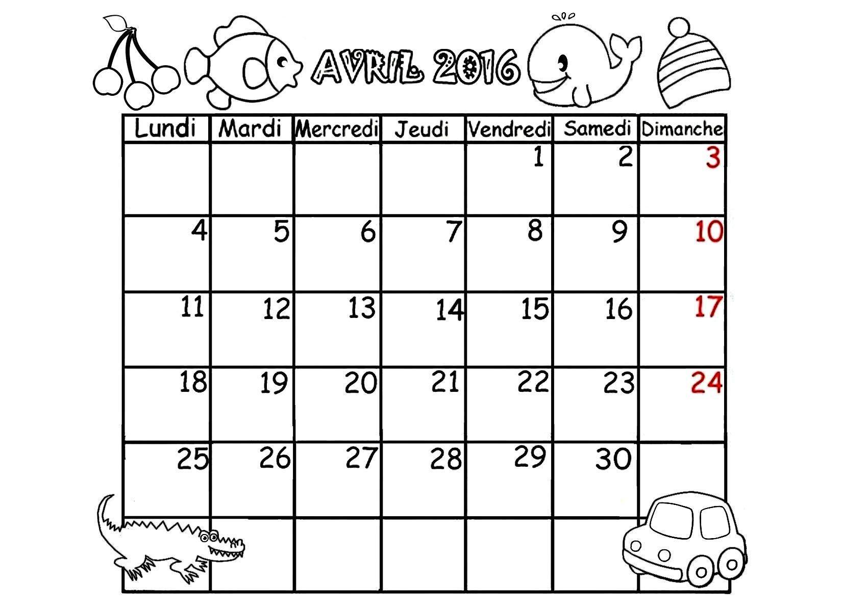 Calendrier 2016 mois de janvier fevrier mars avril - Coloriage mois d avril ...