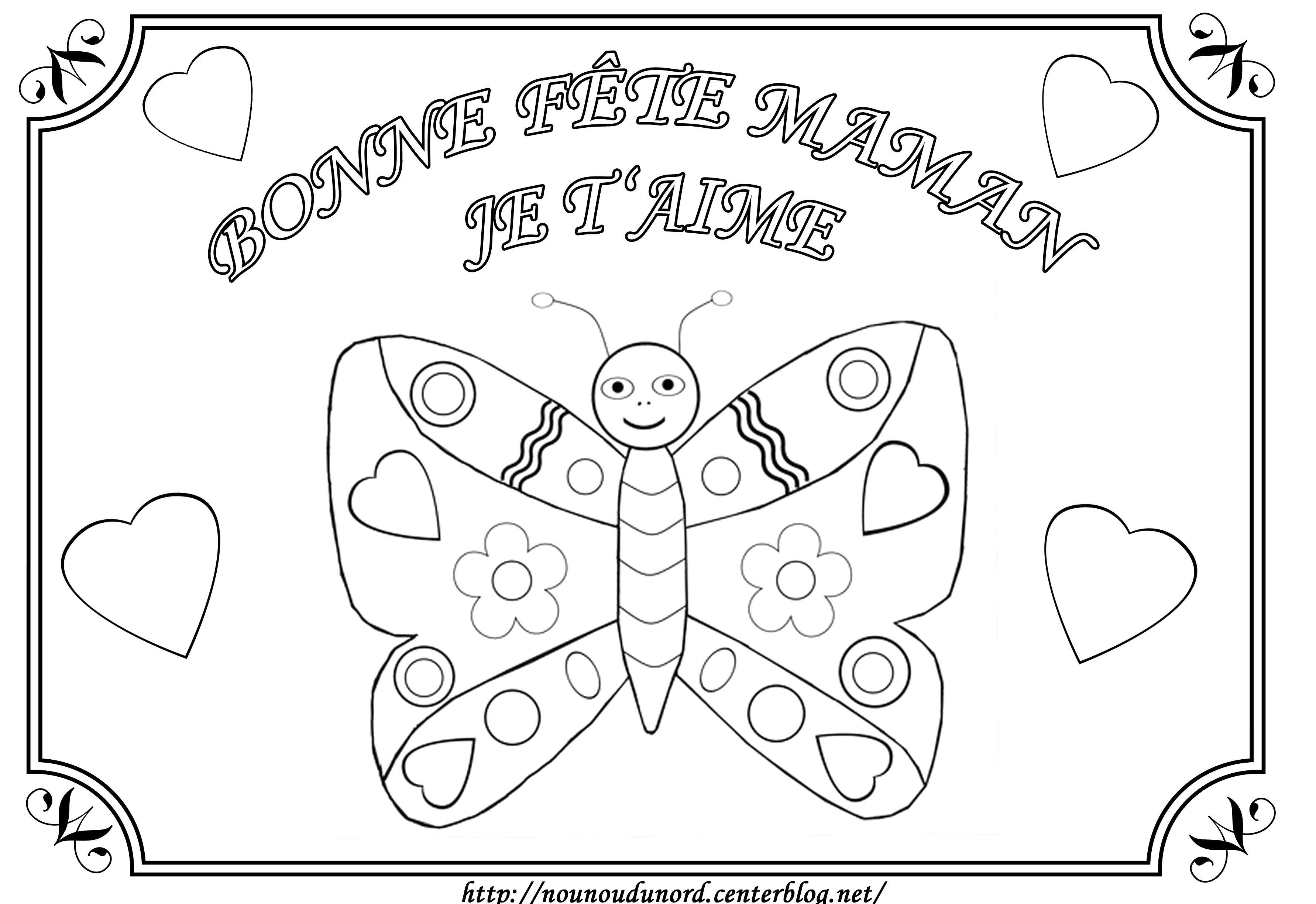 Papillon Coloriage Pour La Fête Des Mères