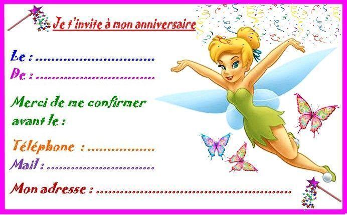 Magnifique Fée clochette Etiquettes, invitations pour anniversaire #TW_17