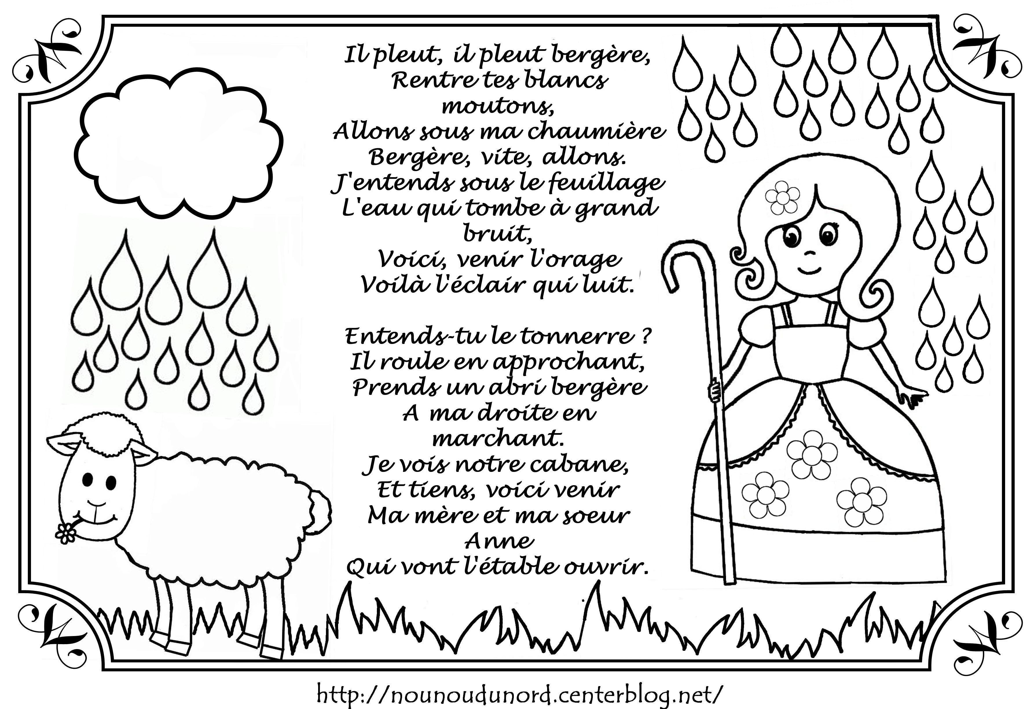 Comptine il pleut berg re colorier par nounoudunord for Par la fenetre ouverte comptine