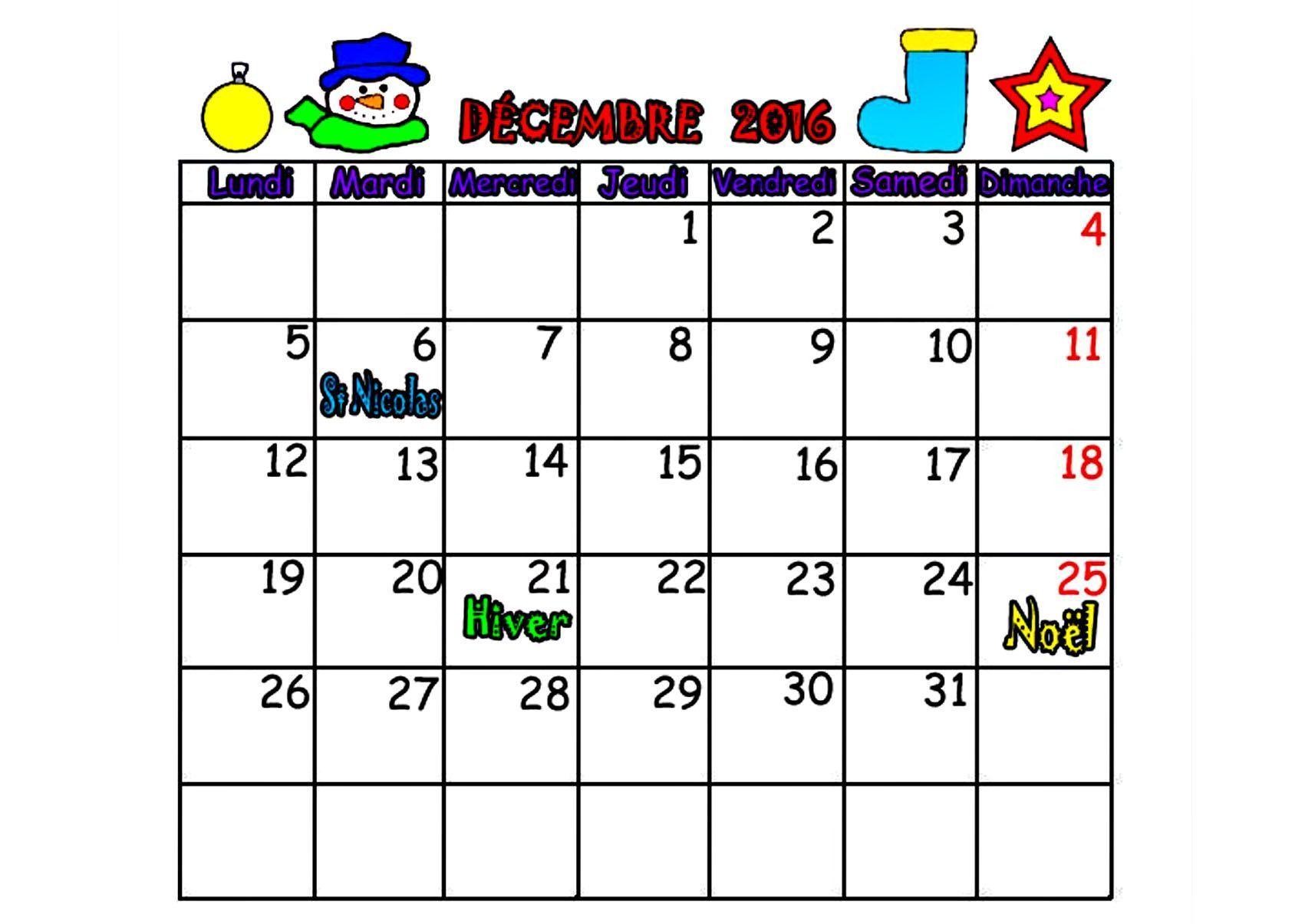 CALENDRIER 2016 mois SEPTEMBRE, OCTOBRE, NOVEMBRE, DECEMBRE