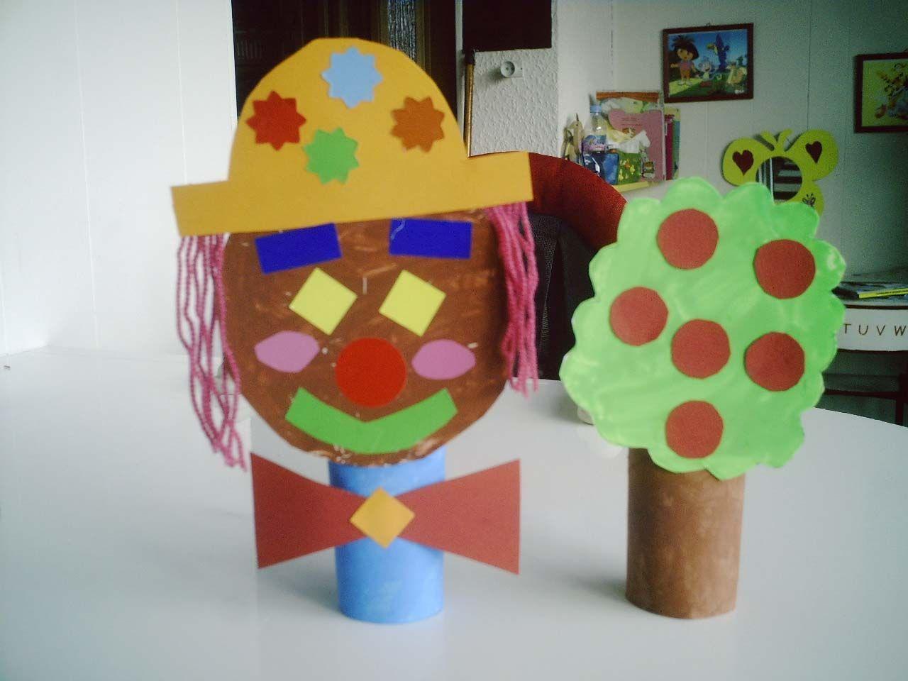 Clown et arbre de lison 2 ans - Activite manuelle avec papier toilette ...