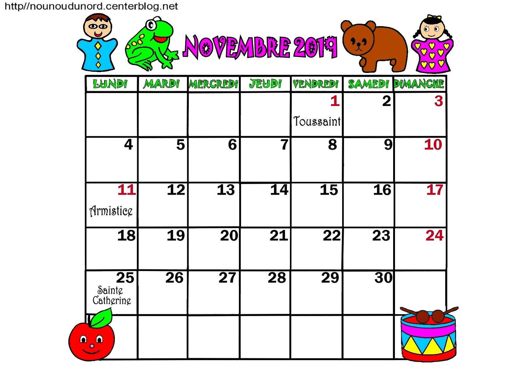 Calendrier Annee 2019 Mois De Novembre