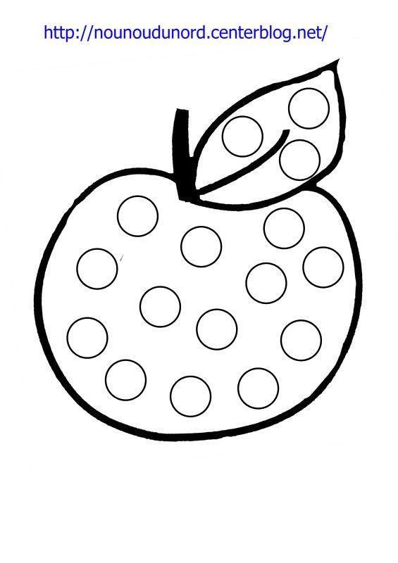Coloriage gommettes la pomme - Pommes dessin ...