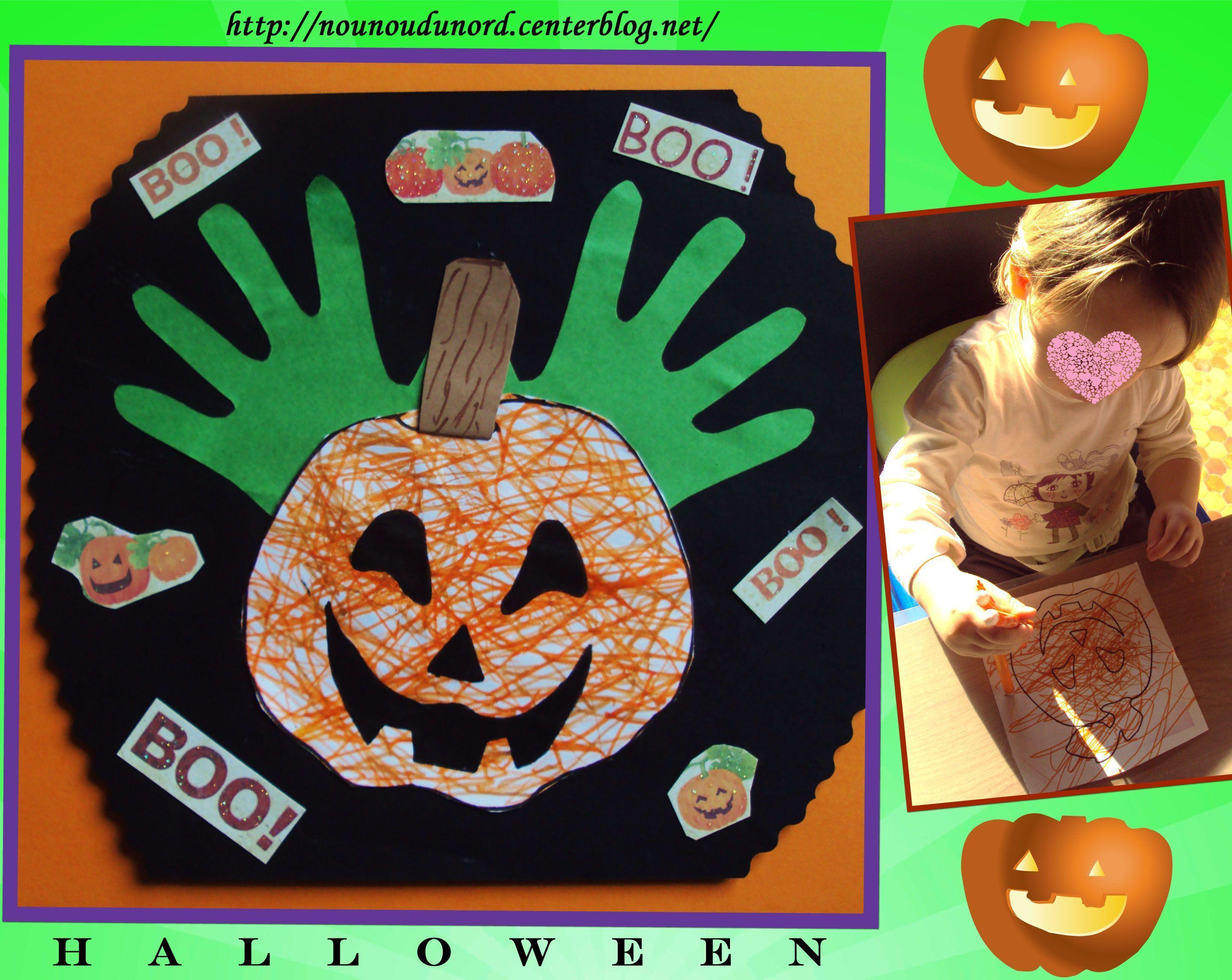 Citrouille aux empreintes de mains d 39 annalisa 18 mois 2011 - Tete de citrouille pour halloween ...