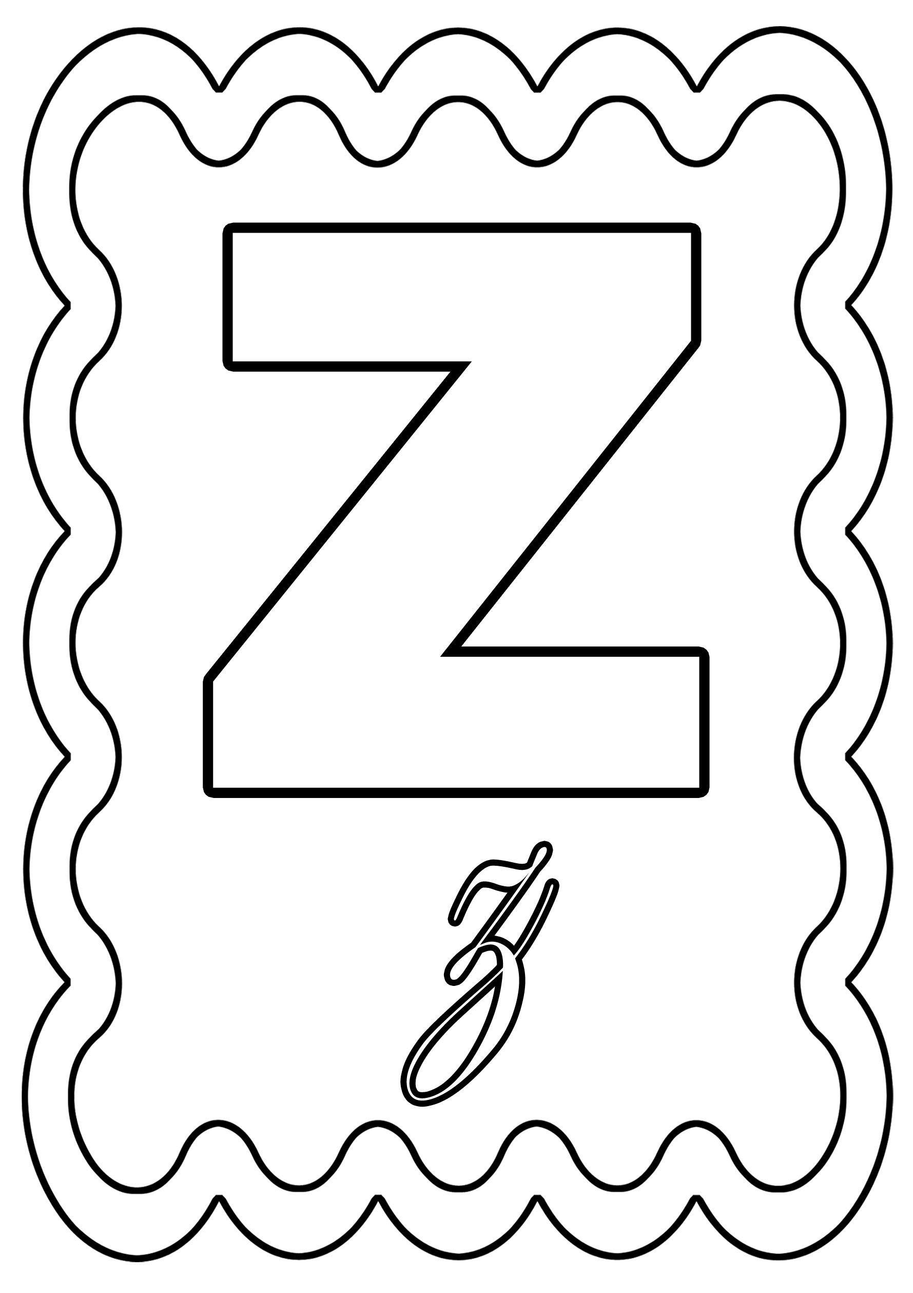 Coloriage lettre z colorier ou gommettes - Lettres de l alphabet a decorer ...