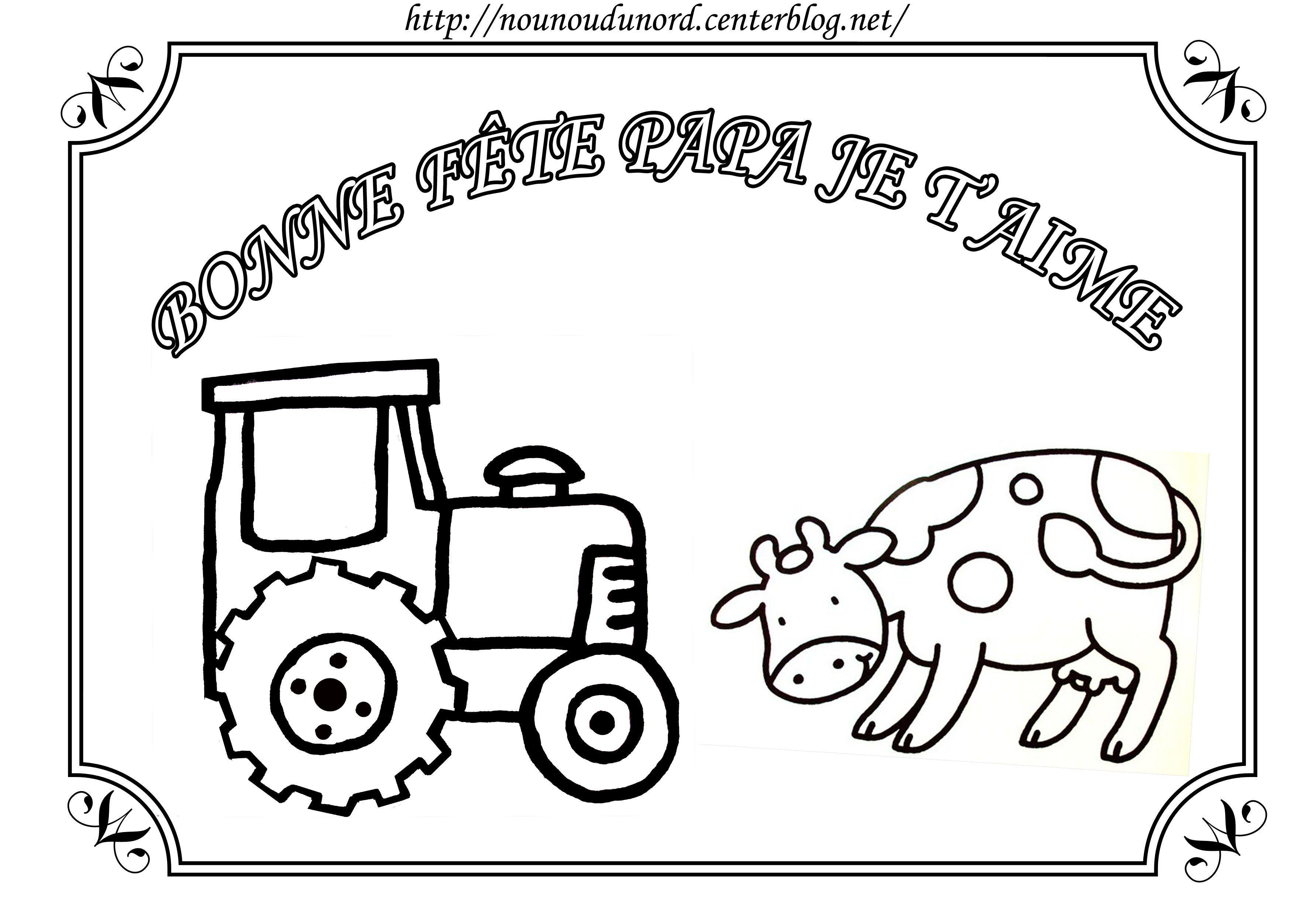 Coloriage de la ferme pour la f te des p res - Dessin pour la fete des papa ...
