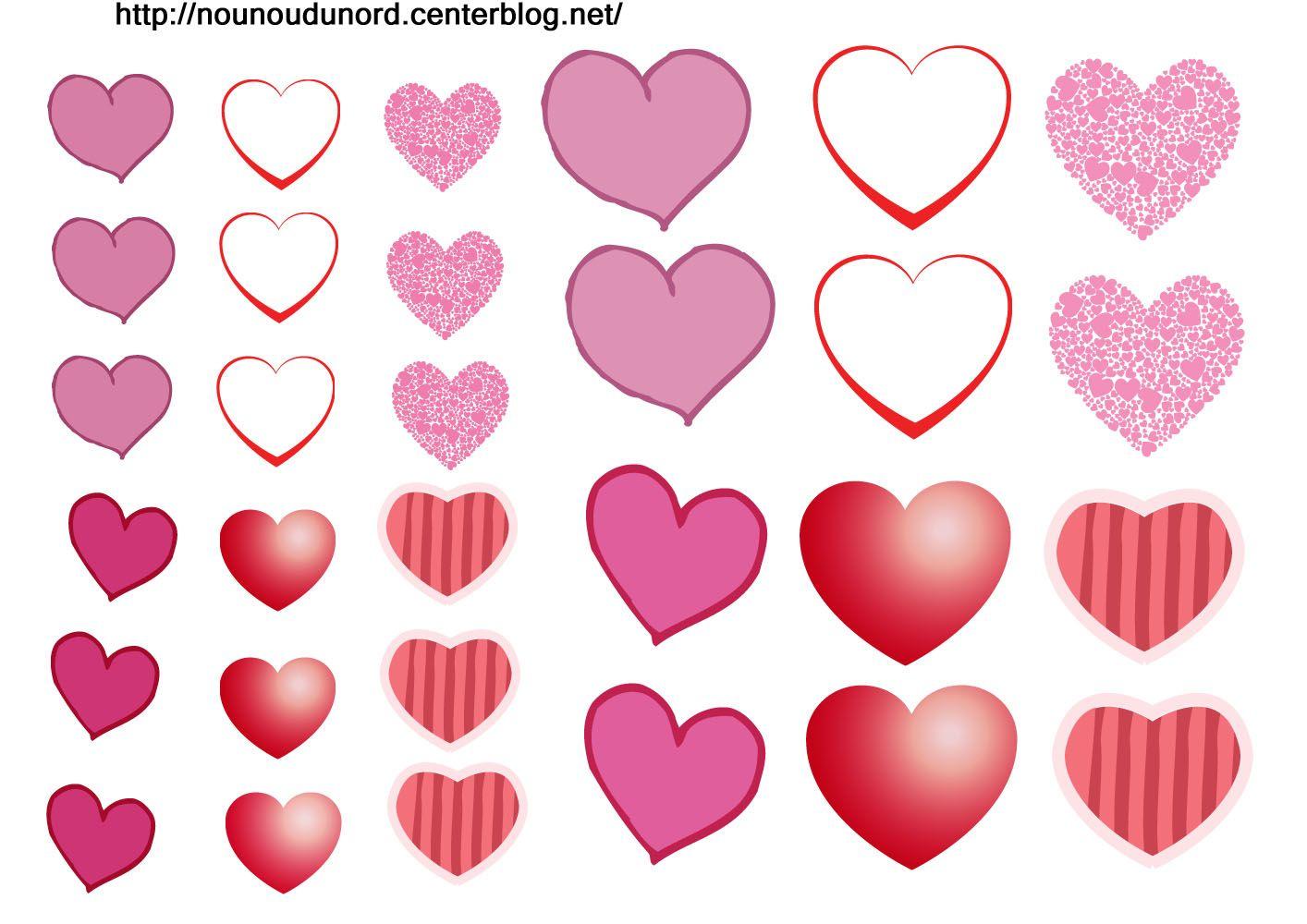Gommettes coeurs roses imprimer - Modele de coeur a decouper ...
